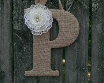 Monogram Door Hanger, Burlap Letter, Monogram Wreath, Letter Wreath, Wedding Monogram