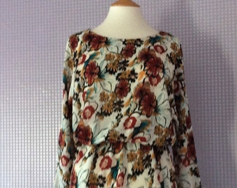 Floral print  gathered waist 3/4 length sleeve dress