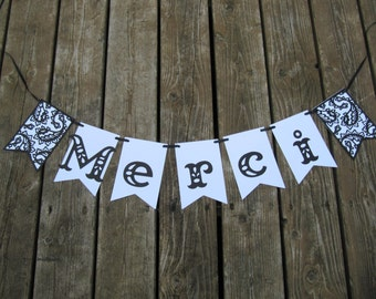 Merci banner, french banner, wedding photo prop, wedding thank you, baby thank you