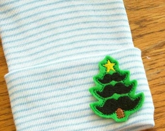 Newborn Hospital Hat! Blue and White Striped hospital hat topped off with Mustache Christmas Tree applique!