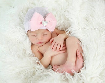 Newborn Hospital Hat! EXCLUSIVE To This Shop! 1st Iridescent Heart Rhinestone Keepsake on Pink Bow. Beautiful for Baby! Choice of Hat Color