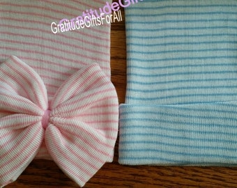 NEWBORN Hospital Hats. A Best Seller! TWINS 1st Keepsakes! 2 Newborn Hospital Hats. Baby Girl with Large Bow and Baby Boy
