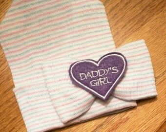 Our Popular Newborn Hat Now with Daddy's Girl Purple Embellishment. Newborn Hospital Beanie.  Baby Newborn Hats.