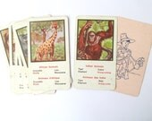 Vintage animal game cards: set of 8 Indian and African animals cards in English and French. Ephemera for craft, collage, scrapbook, art.