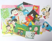 Peanuts vintage craft pack: 41 paper pieces hand cut from books. Craft kit for scrapbooks, card making, collage and other craft projects.