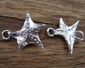 Handmade Artisan Starfish Clasp in Sterling Silver (one clasp) (N)
