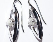 Natural White gray rough Diamond Earring uncut Diamond raw diamond earring 925 silver Rustic diamond Earring-conflict free Hand made Earring