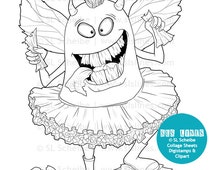 monster book eater, monster digital, book lover printable coloring silly monster eating books by SLS Lines