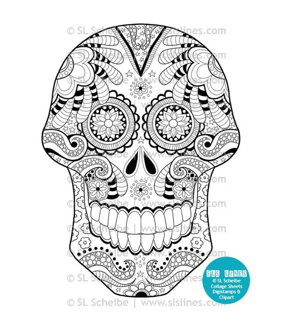Sugar skull digital stamp, day of the dead digistamp ...