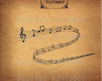 Music Clef Notes Musical Illustration Antique Digital Image Download Printable Graphic Clip Art Transfers HQ 300dpi jpg png svg