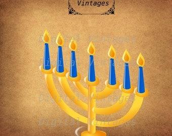Jewish Holiday Hanukkah Menorah illustration Digital Image Graphic Download Printable Graphic Clip Art Prints 300dpi SVG JPG PNG
