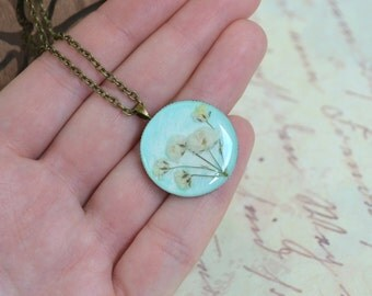 SALE -50%OFF - Real wild plants pendant-  mint pendant - ECO stile- p0046  - gift for her