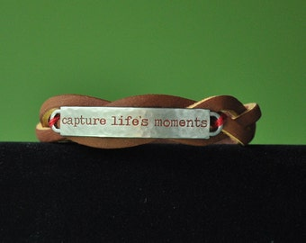 Capture Life's Moments on a Leather Bracelet