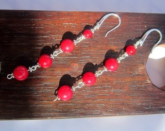 Fertility Red Coral Earrings, Red Coral Earrings Red Coral Therapy Earrings, Red Coral Good Luck Earrings Heart Chakra Red Coral Earrings