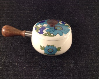 Vintage Enamel Cooking Pot Mod Green Blue Flowers Wood Handle flower power