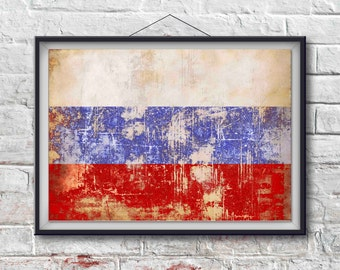 Russian Flag Print, Russian Poster,  Russian Flag Art, Russian Art Print, Wall Art, Wall Decor, World, Home Decor [PXCF044-P]