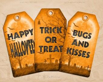 "Digital Halloween Tags Halloween Hang Tags ""Orange Halloween Tags"" instant download printable halloween orange gift tags"