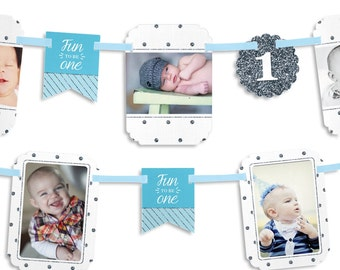 Fun to be One - 1st Birthday Boy Party Photo Garland Banner - Custom Birthday Party Decorations
