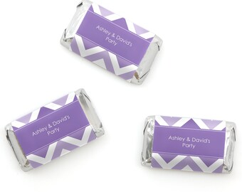 Chevron Purple Mini Candy Bar Wrappers - Personalized Baby, Bridal and Birthday Party Hershey® Miniature Candy Bar Sticker Labels - 20 Ct