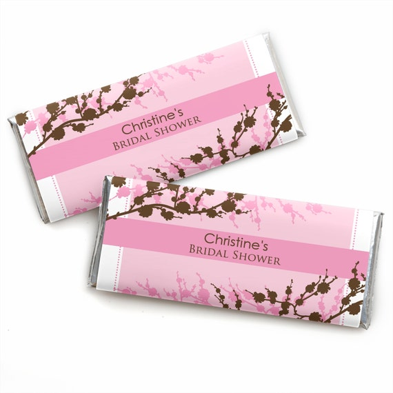 24 Cherry Blossom Custom Candy Bar Wrappers