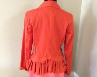 Isabel de Pedro Orange Ruffled Jacket/Blazer Size Small