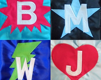 Kids Super Hero Cape - Super Hero Cape Personalized with Shape and Initial - Super Hero Party Favor - Custom Super Hero Cape