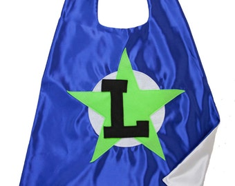 Superhero Gift - Boy Birthday Gift - 4 Year Old Boy Gift  - Free Mask - Capes for Boys . Blue Lime Green Cape - Ships Quickly