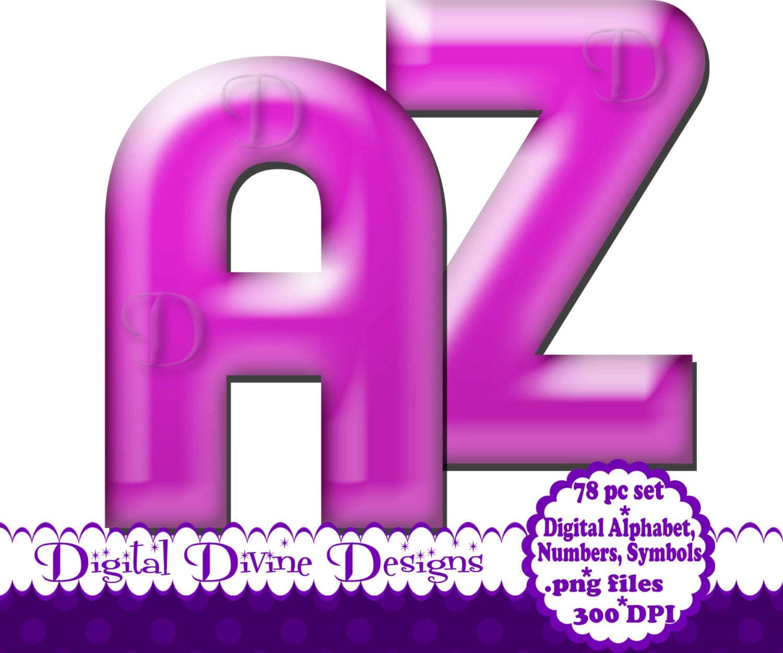 Light Purple Bubble Digital Alphabet Clip Art Set