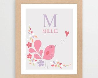 Printable Personalized Nursery Wall Art. Sweet little bird.