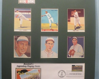 New York Giants led by Mel Ott, Carl Hubbell and Bill Terry are the 1933 World Series Champions & First Day Cover of Polo Grounds stamp
