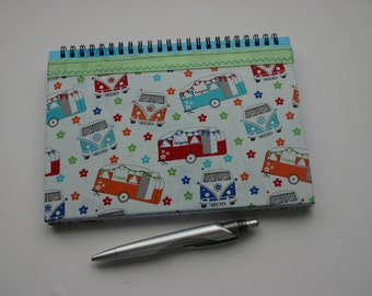 A5 campervan fabric covered notebook, lined notebook, retro journal, caravan notebook, camping journal