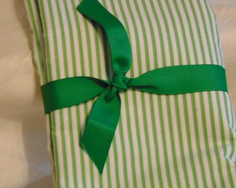 Fabric 1950s Green White Stripes 2 yards 24 Inches 83 Inches Wide