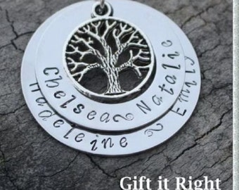 Personalised Double Family Tree Name Necklace - christmas