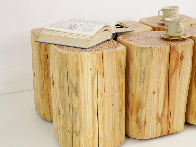 wooden block table tree trunks set timber wood table baumstumpf baumstamm tisch satz von. Black Bedroom Furniture Sets. Home Design Ideas