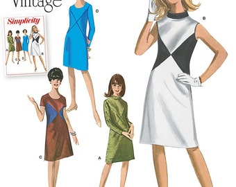 Misses'/Women's Vintage 1960's Dresses with Neckline and Fabric Variations Simplicity Pattern 1012
