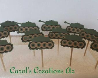 12 Army Tank Cupcake Toppers / Tank Cupcake Toppers / Army Party Picks / Army Cupcake Toppers / Tank Cake Decorations /  Military Cupcake