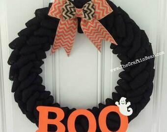 Halloween burlap wreath - Halloween wreath - Halloween chevron - BOO - Ghost wreath - Boo wreath - Halloween decor