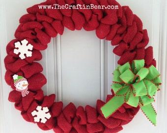 Snowman burlap wreath - Holiday wreath - Christmas wreath - Snowman wreath - Snowman decor - Red burlap - Red christmas wreath - Snowflake