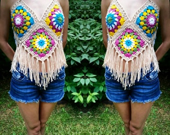 Multicolour Fringe Crochet Top