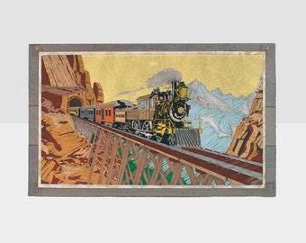 train art,  train felt painting,, vintage railroad painting, railroad drawing,  , railroad collectables, railroad painting