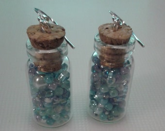 Blue bead filled vial earrings