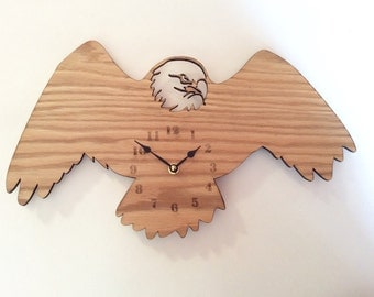 Eagle wall clock. wood wall clock, wood clock, wall clock wood, clock, wall clock, laser cut clock, large wall clock, eagle, eagle clock