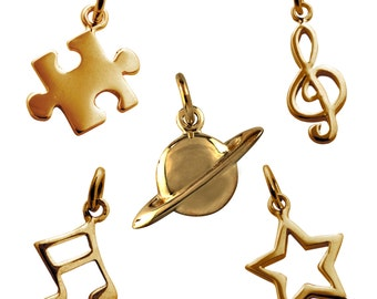 Selection of Single Gold Charms. Jigsaw Puzzle, Music Note, Planet, Star, Treble Clef (Collection A Group 3)