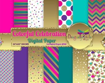 80% OFF Colorful Celebration,digital paper,commercial use,scrapbook papers,background,gold glitter, teal, purple, pink, Chevron
