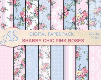 Digital Shabby Chic Pink Roses Paper Pack, 16 printable Digital Scrapbooking papers, retro roses Digital Collage, Instant Download, set 222