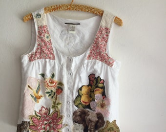upcycled blouse, recycled top, rose, wearable art, Mexican, applique, flowers, tshirt, lace, free people, boho, hippie style, short sleeve