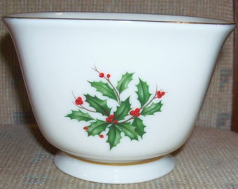 Vintage Lenox Holiday Fine China  Dimension Shape Gold Treat Bowl = Holly and Berries Design