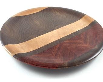 Segmented Endgrain Plate - Maple Walnut and Padauk Wood