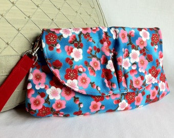 wristlet purse clutch cherry blossoms