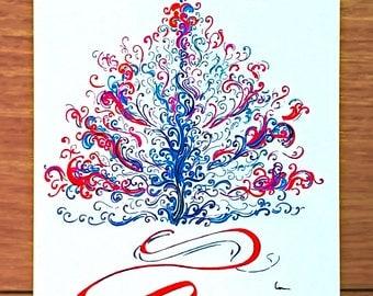 Congratulations / Merry Chrismas / Postcard / Christmas tree / Drawing